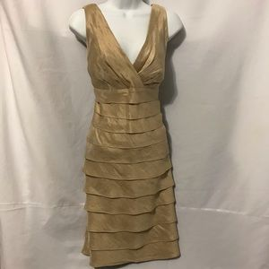 LONDON TIMES GOLD TIERED DRESS, SIZE 12
